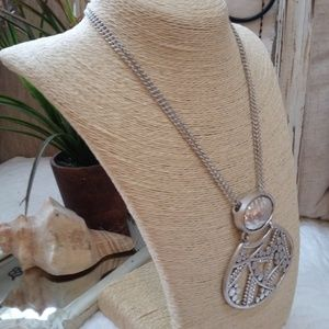 Chico's Jewelry - STUNNING LARGE Solid SILVER Tone PENDANT Necklace